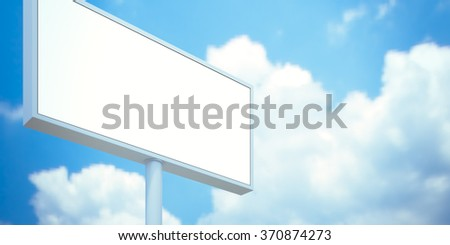 Billboard with empty screen, against blue cloudy sky. 3d render - stock photo