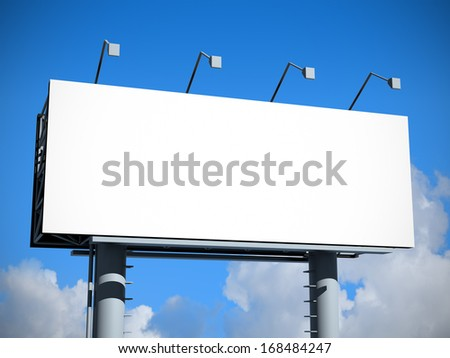 Billboard with empty screen, against blue sky  - stock photo