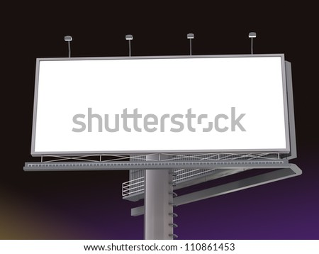 Billboard with empty screen in the night - stock photo