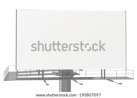Billboard with empty screen, isolated on white background. - stock photo
