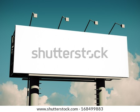 Billboard with empty screen, with retro toning - stock photo