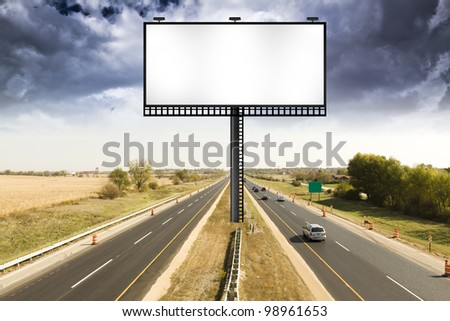 Billboard with Stormy Sky on american toll way - stock photo