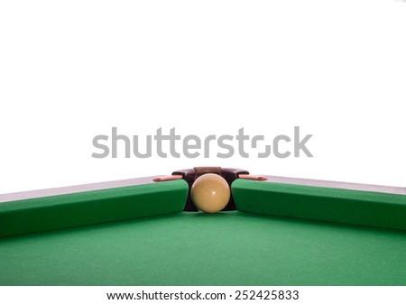 Billiard ball in a pool table in the closeup - stock photo