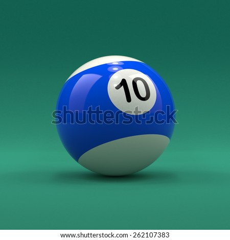 Billiard ball number 10 striped white and blue color on green table background - stock photo