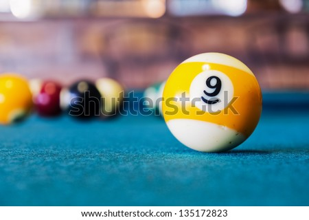 Billiard balls/A Vintage style photo from a billiard balls in a pool table. Noise added for a film effect - stock photo