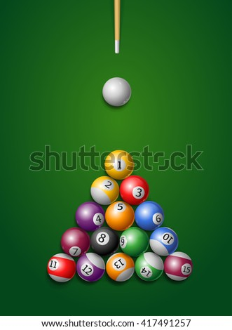 Billiard Balls, Cue in a Pool Table. illustration - stock photo