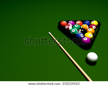 Billiard balls on table - stock photo