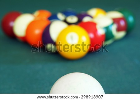 Billiard balls with white ready to break - stock photo