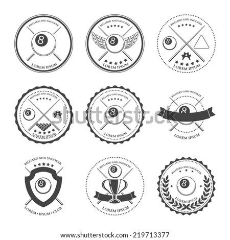 Billiard design elements and badges set. illustration - stock photo
