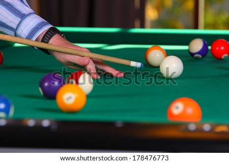 billiard table with balls - stock photo