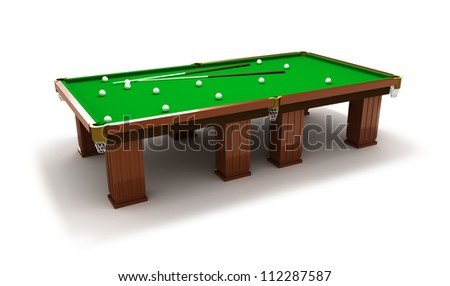 Billiard table with balls and cues - stock photo
