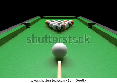Billiard table with balls set and cues on a black background - stock photo
