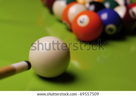 Billiard time, composition on shiny background - stock photo
