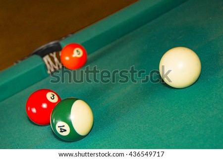 Billiards. American. balls. Focus on the foreground, shot with shallow depth of field  - stock photo