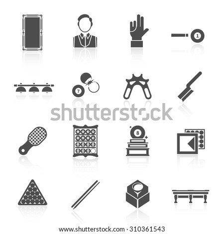 Billiards black icons set with trophy player glove ball isolated  illustration - stock photo