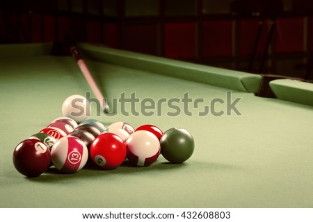 Billiards. Pool game. - stock photo