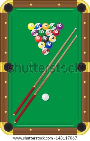 billiards pool illustration - stock photo