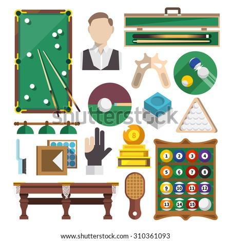 Billiards snooker pool game decorative icons flat set isolated  illustration - stock photo