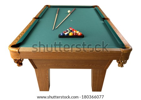Billiards table with cues and balls on white - stock photo