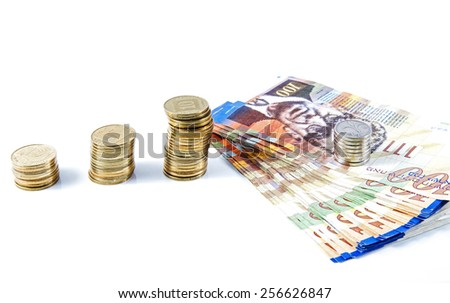 Bills of one hundred shekels and coins of different denominations Israeli bank. - stock photo