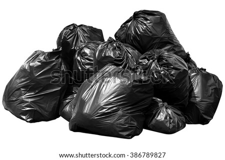 bin bag garbage isolated on background white - stock photo