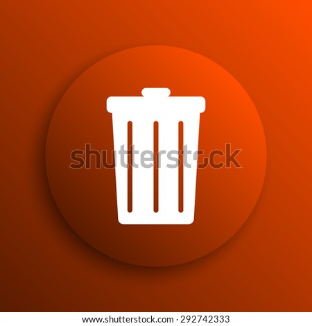 Bin icon. Internet button on orange background  - stock photo
