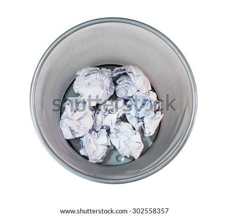 Bin mesh net pattern trash paper crumple - stock photo