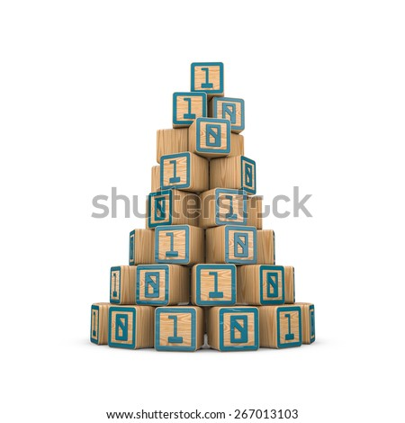 Binary blocks pyramid - stock photo