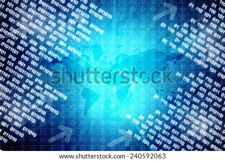 Binary Business Background With Map - stock photo
