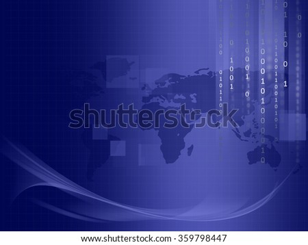 Binary code  Blue Technology background  - stock photo