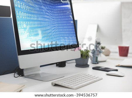 Binary Code Computer Screen Blue Concept - stock photo