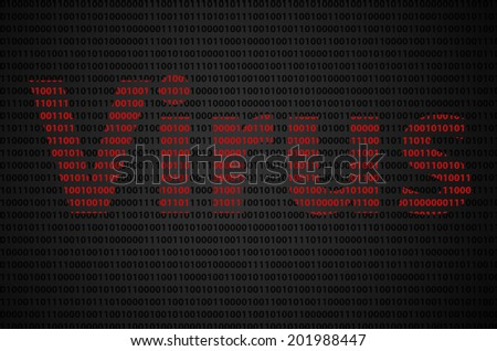 """Binary code concept with """"Virus"""" text appear on red binary code  - stock photo"""
