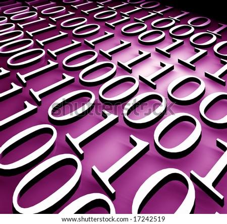 Binary code,3d rendered art - stock photo
