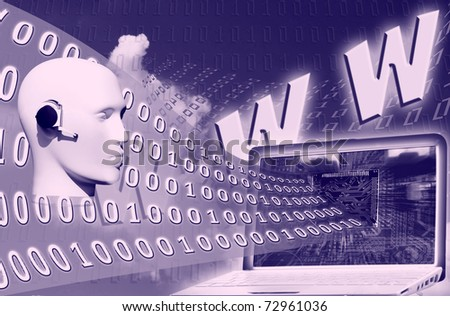 binary code floating to laptop - stock photo