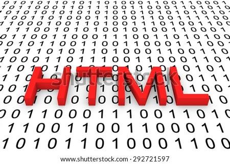 binary code html - stock photo