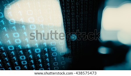 Binary code new technology abstract background - stock photo