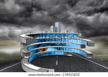 Binary code on abstract screen against cityscape on stormy landscape background - stock photo