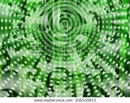 Binary code streaming with gears - stock photo
