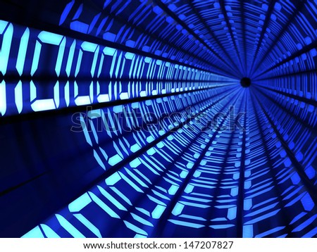 Binary code tunnel technology concept illustration  - stock photo