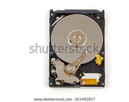 Binary data of HDD. Inside of internal Harddrive HDD on white background. - stock photo