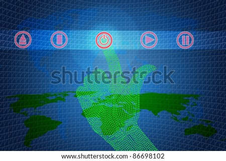 Binary hand click open or stop. - stock photo