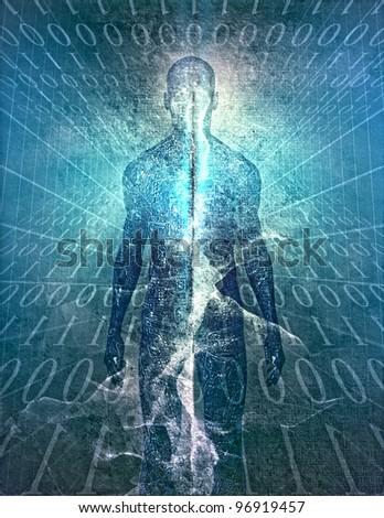 Binary Man - stock photo