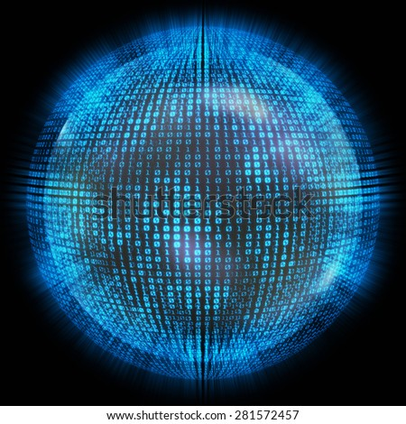 binary numbers around the globe on a concept of global network technology. - stock photo
