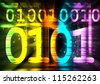 Binary Numbers color rays - stock photo