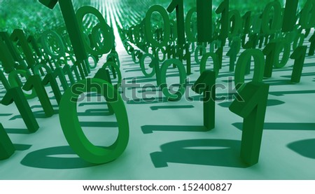 binary system. one and zero array. 3d. - stock photo