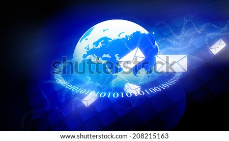 Binary world with email messages  - stock photo