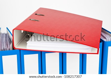 binders filled with documents and documents. retention of contracts. - stock photo