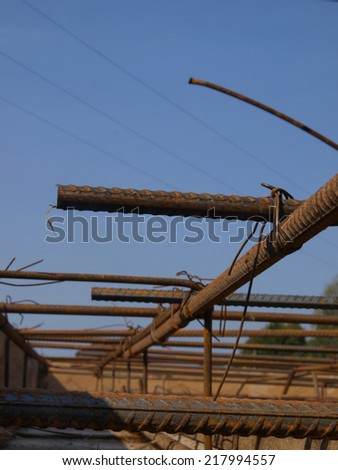 binding rebar before concreting, reinforcing steel bars - stock photo