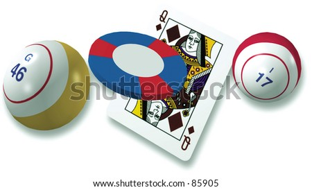 Bingo Ball and Cards - stock photo
