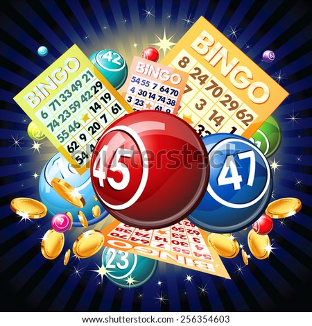 Bingo balls and cards on golden background. - stock photo